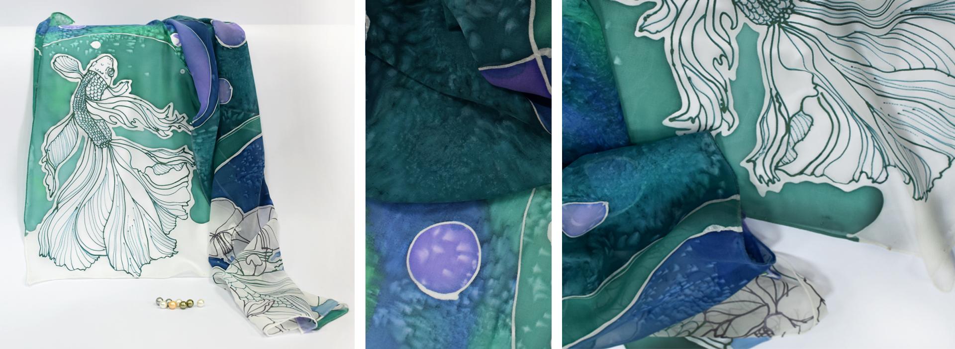 Рисуване на коприна Underwater world