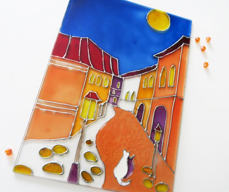 Рисуване на стъкло - Пейзаж
